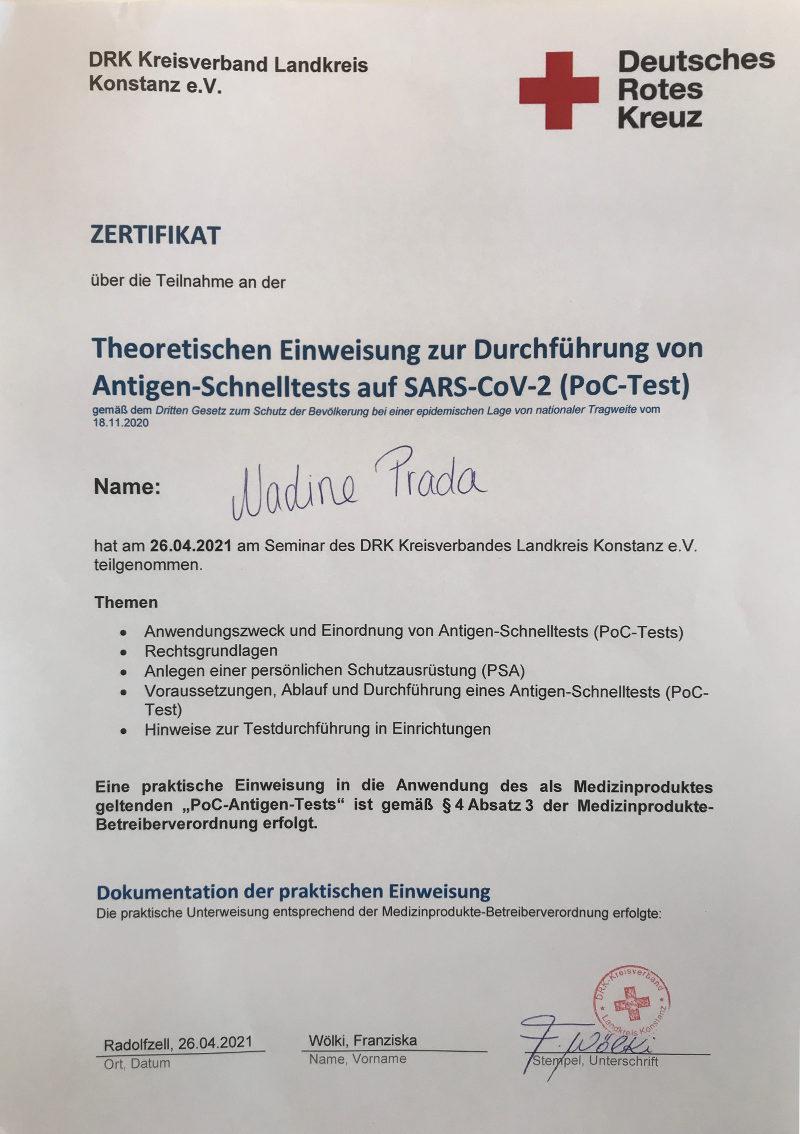 Friseur Singen Zertifikat Durchführung Schnelltests Nadine Prada
