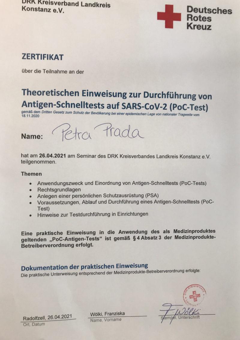 Friseur Singen Zertifikat Durchführung Schnelltests Petra Prada